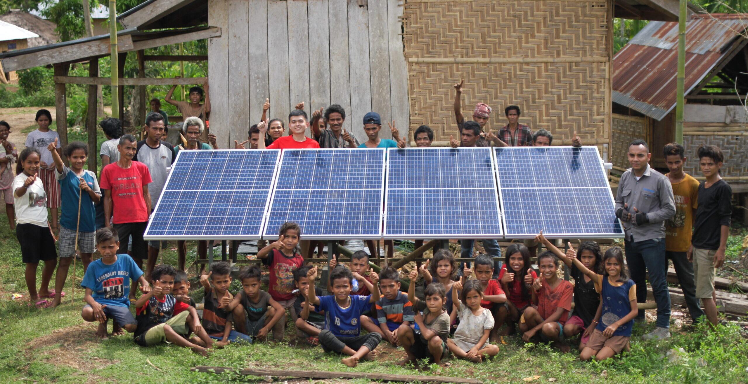Alva Energi solar panel installation in Sumba